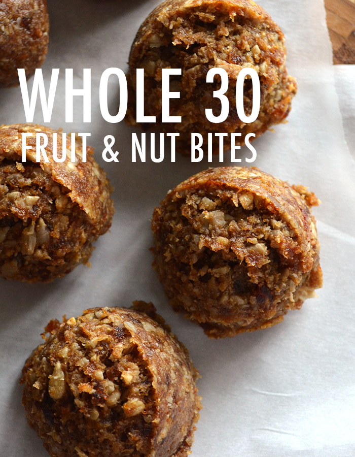Whole 30 approved fruit and nut bites on Polka Dot Soup