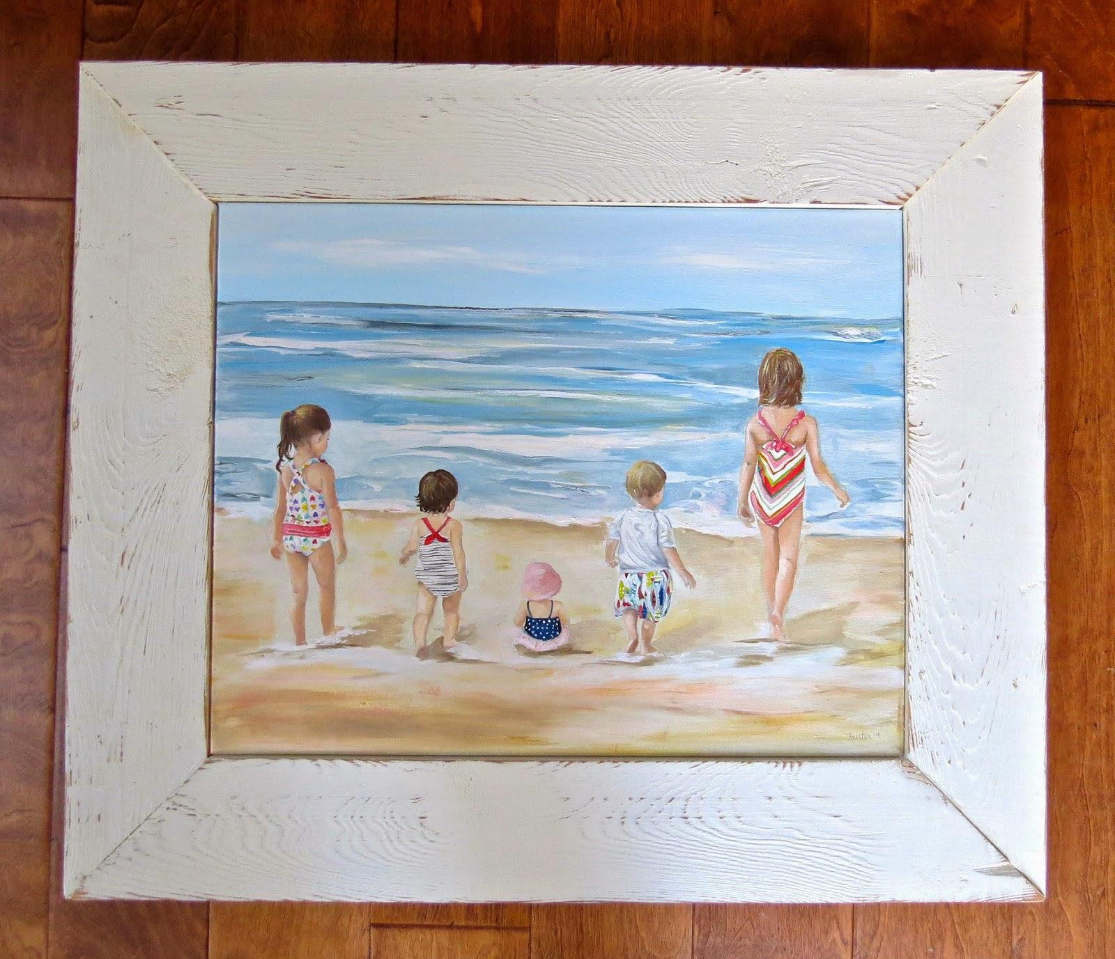 Creations by kristen framing cousins painting with custom white distressed frame jeuxipadfo Choice Image