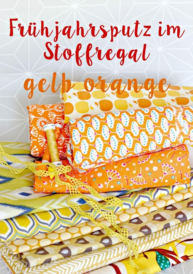 Stoffsammlung gelber und orangener Stoffe