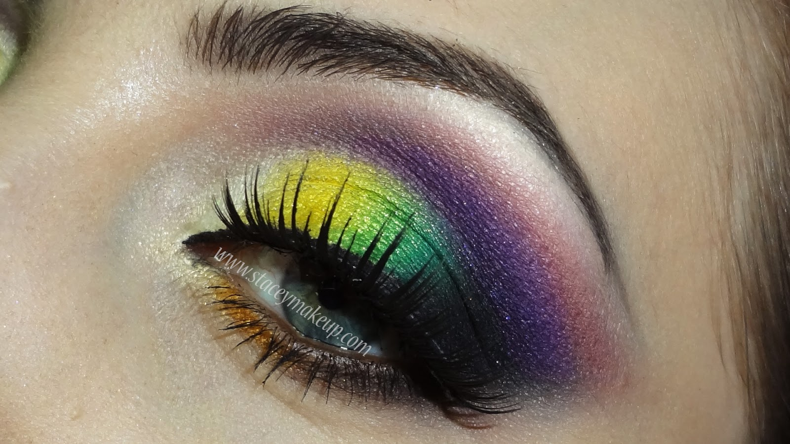 yellow green and purple look
