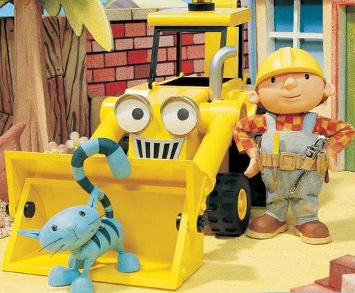 Bob el Constructor junto a su maquinaria pesada y su gato