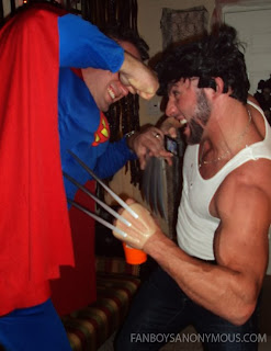Wolverine and Superman fighting at party