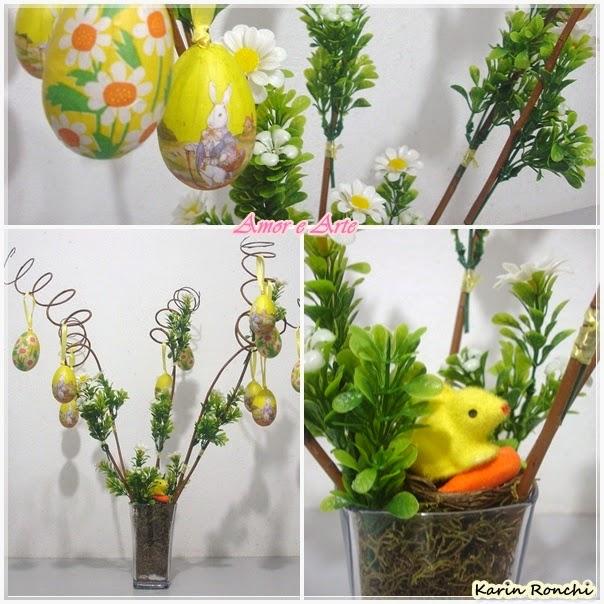 Decoração de Páscoa para mesa - flores, ovinhos amarelos e coelhinho