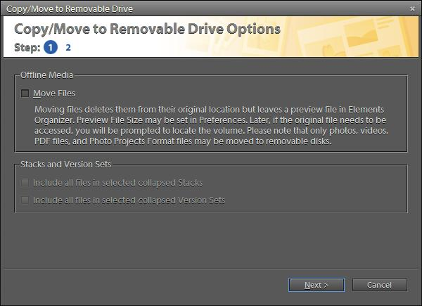 Some of the earlier versions of Adobe Photoshop Elements used to have an option to burn a CD/DVD out of selected media files in Elements Organizer and now this option is not available in latest version, which is 9.0. But still there is an option to burn media files to CD/DVD. Here are some simple steps to do this :-1. Select all the files you want to burn into a CD/DVD2. Go to File Menu and Select