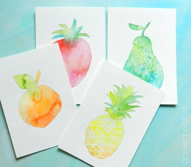 How to Paint Watercolor Fruit- Textured Silhouettes with free template: Grow Creative