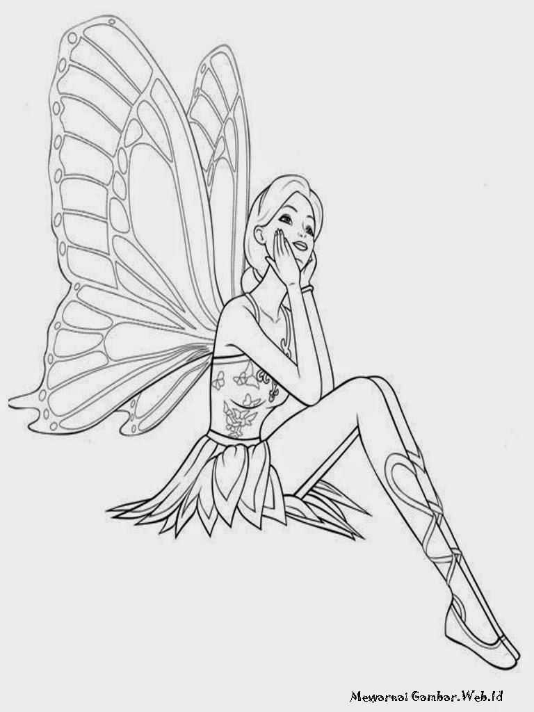 Lembar Mewarnai Gambar Barbie Mariposa Untuk Di Cetak