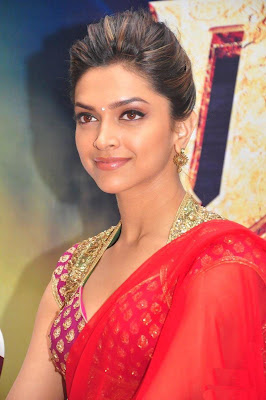Bollywood Actress Deepika Padukone Red Saree Photos