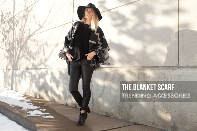 Aritzia Blanket Scarf, All Saints Leather pants, Rag & Bone boots, Floppy Hat
