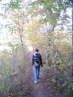 Blogger hiking up an incline in Cootes Paradise.