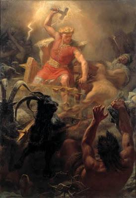 Thors Streitwagen gezogen von Ziegen