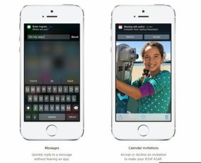 Inilah fitur baru dari iOS 8, foto dan video -  Pemberitahuan Interaktif dan widget pihak ketiga