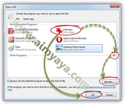 Gambar: Mengganti default aplikasi pembuka file dengan yang baru