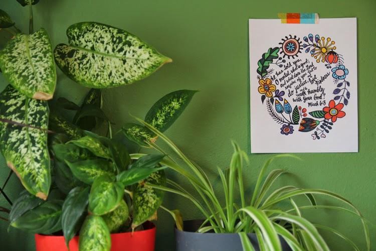 Micah 6:8 print flowers  With Love by Megan