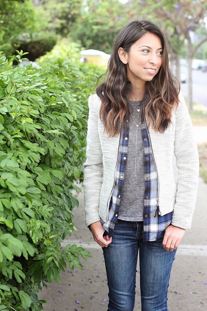 tweed blazer and plaid shirt