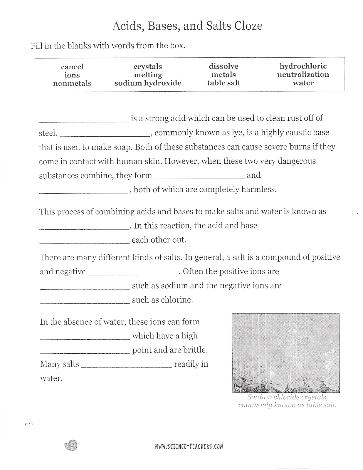 Dr Gaydens Science Class November 2012 – Acid and Bases Worksheet Answer Key