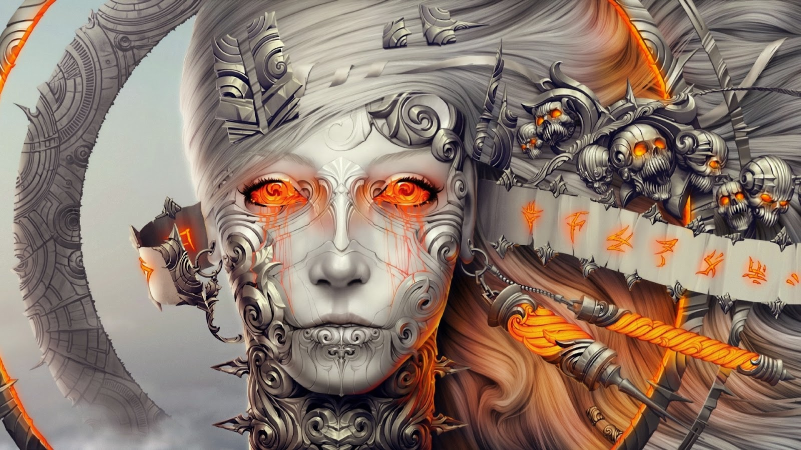wallpiolt: 3d robot girl digital art hd wallpaper