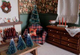 salon en miniatura decoración navideña