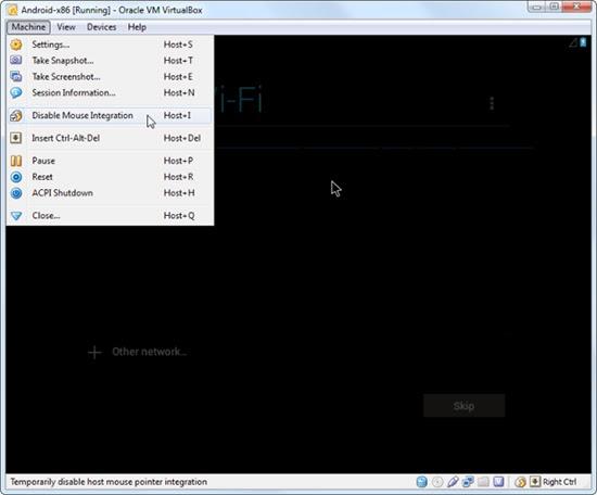 تشغيل الفأرة ببرنامج virtualbox