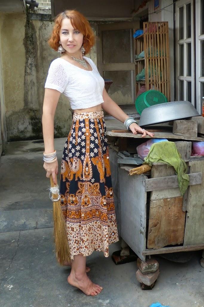 Indian tribal print skirt, choli, ethnic jewelry