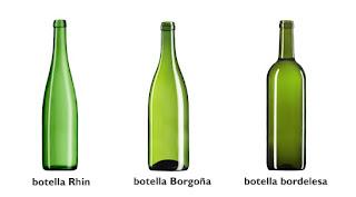 Formas botellas de vino