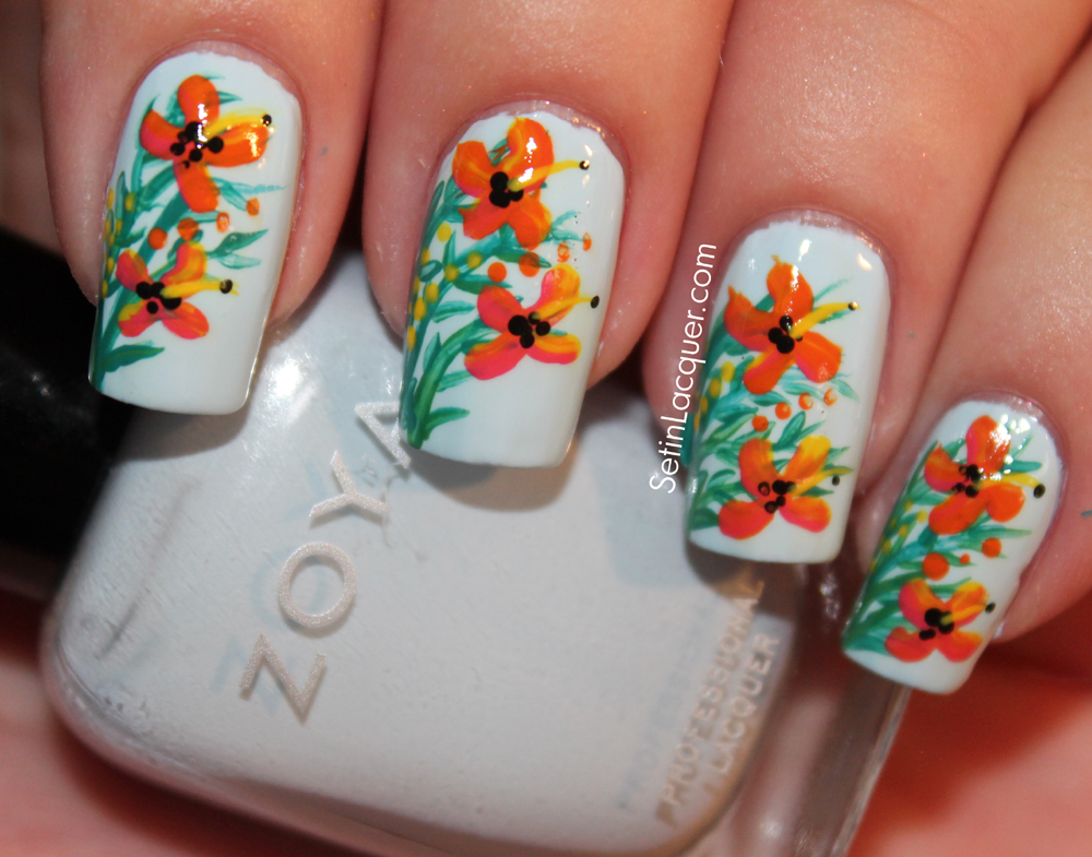 Tropical floral nail art - Set in Lacquer