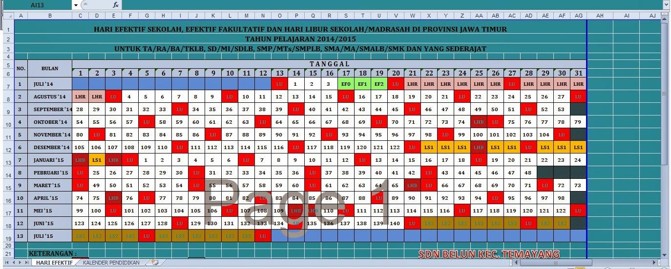 Pendidikan 2015 2016 Propinsi Jawa Timur | Printable Calendar Template ...