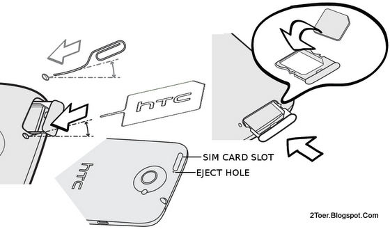 Eject SIM card tray, Insert SIM Card HTC One X plus