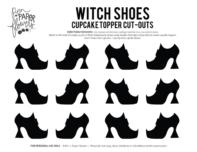 Pen paper flowers free witch shoes cupcake topper template i hope you love sprucing up your halloween cupcakes and treats using these cute witch shoes if you use the free printable and make some of your own id maxwellsz