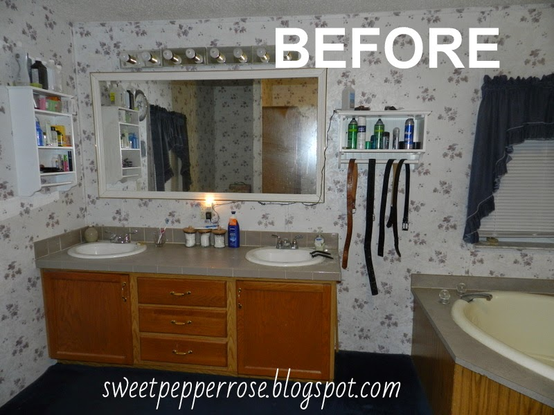 Sweetpepperrose progress master bath remodel new flooring mirrors wall for How to remodel a mobile home bathroom