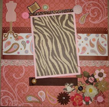 Scrapbooking Quadro Zebra Rosa