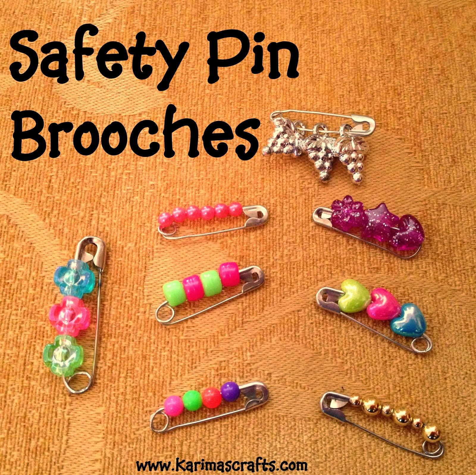 Safety pin craft patterns for Safety pin and bead crafts