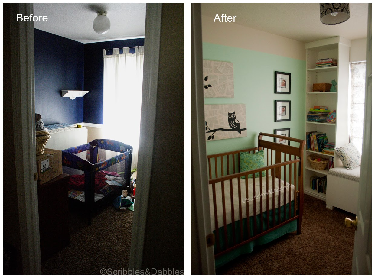 Scribbles&Dabbles: Nursery Reveal -- doorway before and after