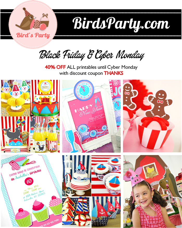 Black Friday Sale: - 40% on ALL Party Printables in Store  with this Exclusive Code THANKS