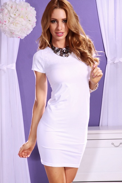 WHITE SEXY TEXTURED EYELET SHORT SLEEVE KEYHOLE BACK MINI DRESS