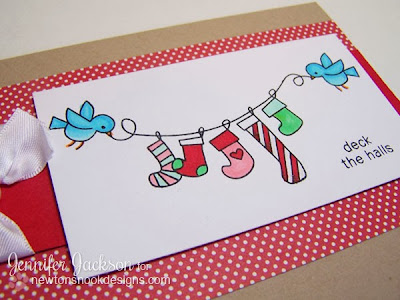 Deck the Halls Christmas card using Holiday Wishes Stamps set by Newtons Nook Designs