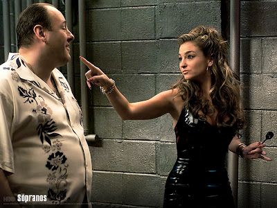 Adriana and Tony Soprano in a lighter moment before he had her killed for cooperating with the Feds