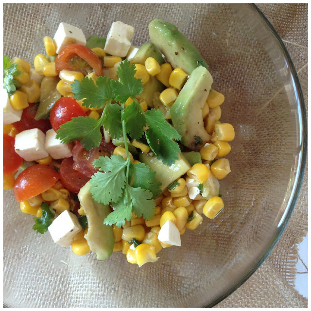 corn, avocado and feta cheese salad