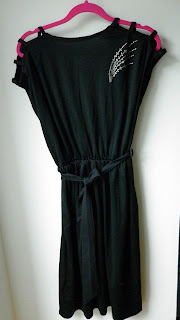 siyah vintage 80ies elbise polyester mesfringues