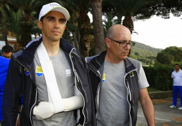 Alberto Contador asistió hospital después de un accidente en la final de la Etapa 6 del Giro de Italia 2015 (Watson)
