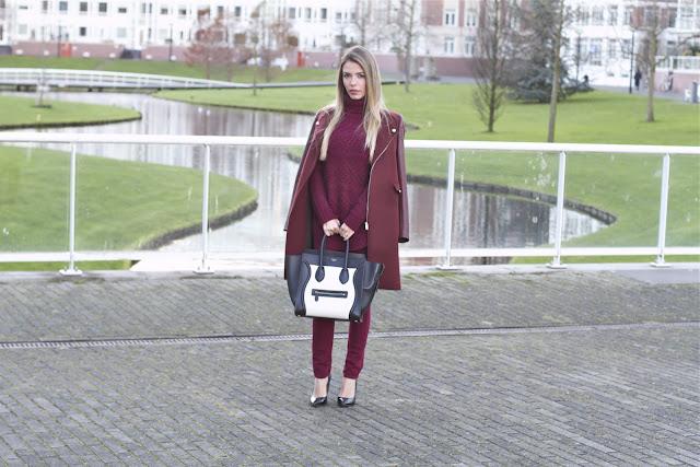 a filha do chefe minimalismo monocromático burgundy vinho streetstyle