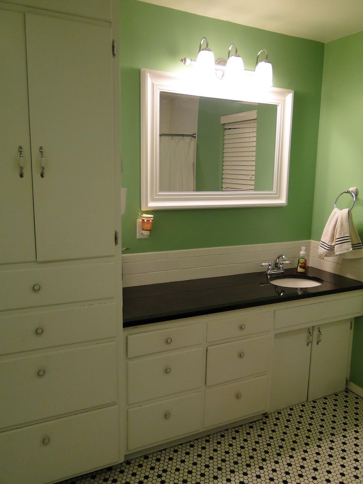 Mint Black and White Bathroom Floor Paint