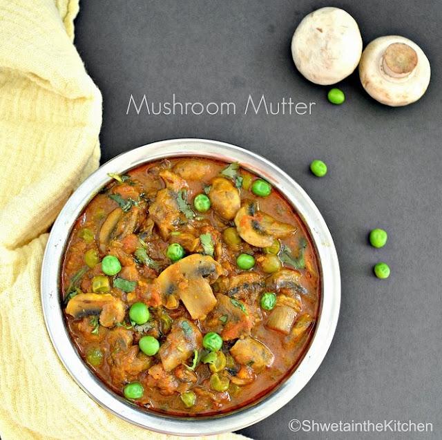 mushroom mutter - matar mushroom masala - mushroom & peas curry