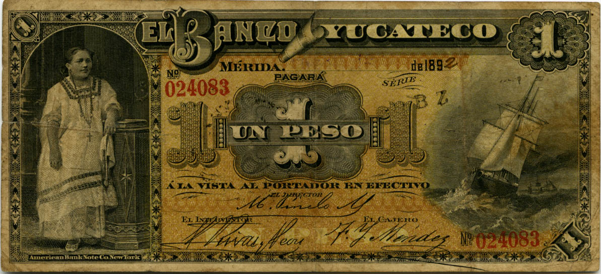 Mexico Banknotes 1 Peso Note Of 1892 Banco Yucateco World