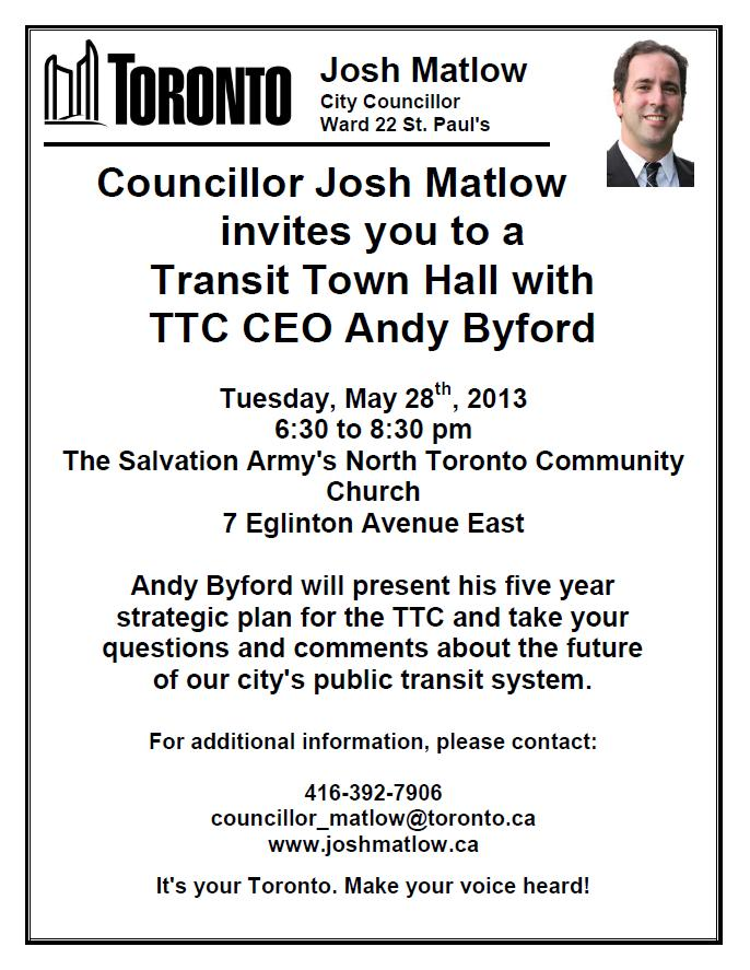 A Town Hall on the future of Toronto's transit system with TTC CEO Andy Byford! May 28th, 2013