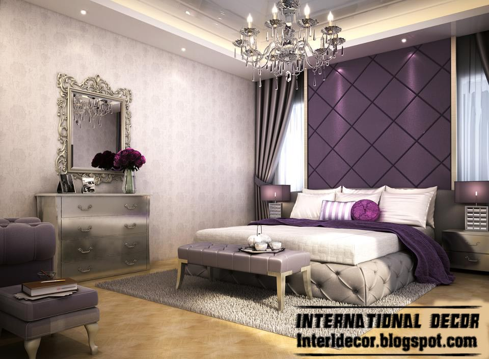 Contemporary bedroom designs ideas with false ceiling and for Purple and white bedroom designs