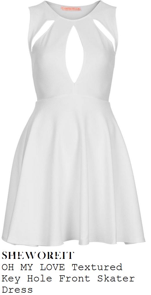 roxanne-pallett-white-cut-out-detail-sleeveless-skater-dress