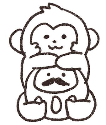 ダルマを抱えている猿のイラスト(申年)モノクロ線画