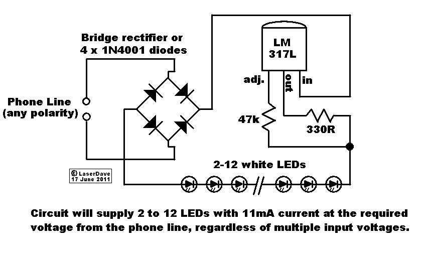 emergency light using phone line circuit diagram