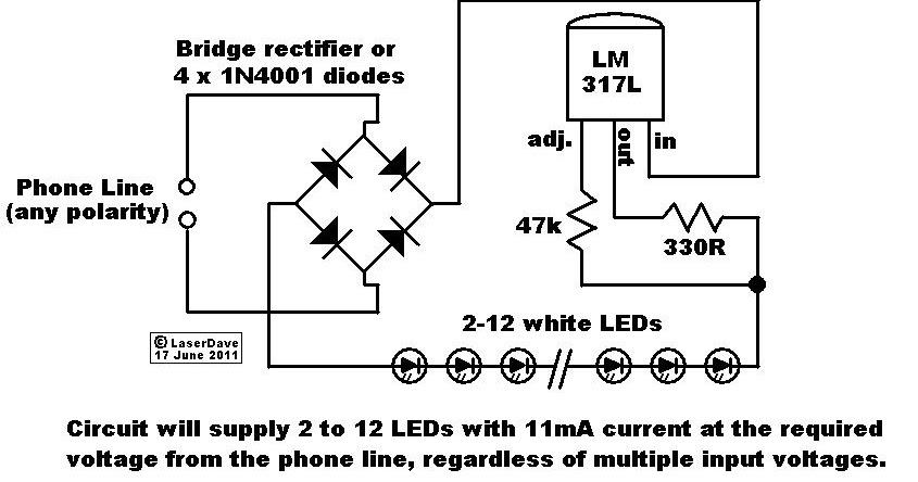 emergency light using phone line circuit diagram