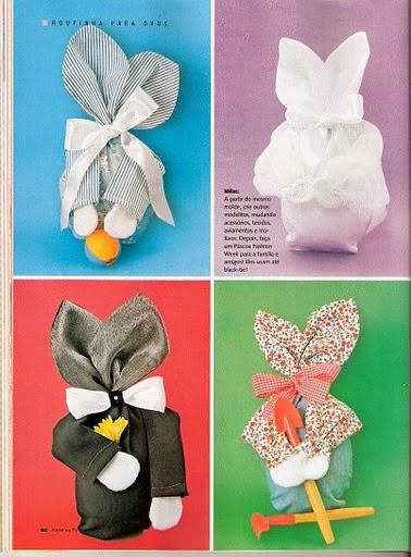 Embalagens divertidas de tecido para páscoa